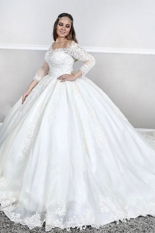Plus Size Bateau Long Sleeve Applique Ball Gown Puffy Wedding Dresses
