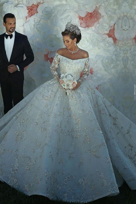 Luxury Off The Shoulder Long Sleeve Sequin Puffy Ball Gown Wedding Dresses | Sequin Floral Bridal Gown