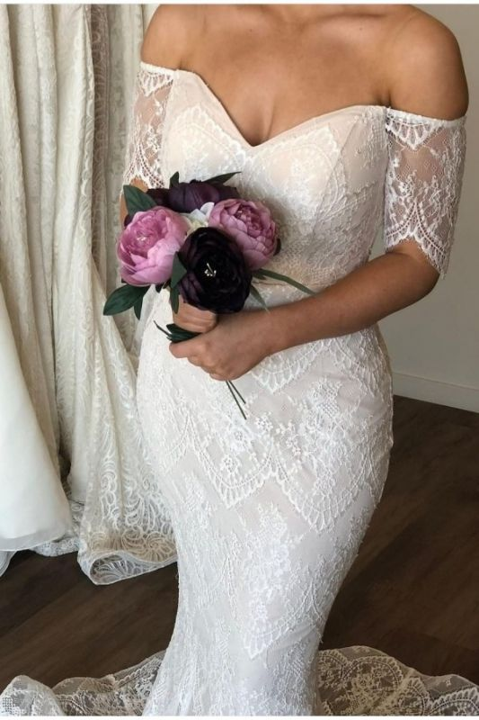 Sweetheart off The Shoulder Short Sleeve Lace Wedding Dresses | Mermaid Wedding Gown