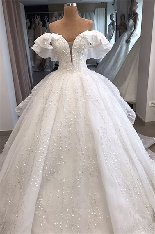 White Sequined Alluring Off-the-shoulder Beaded Ball-Gown Wedding Dresses