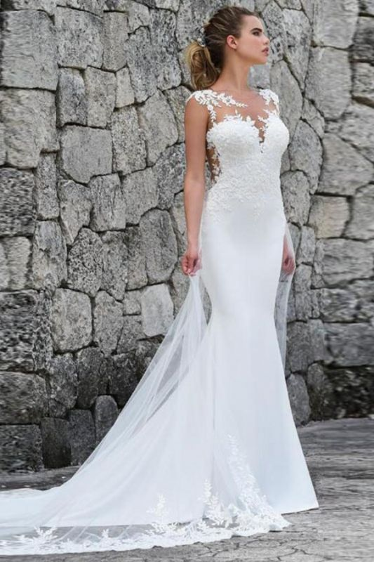 Elegant Jewel Straps Lace Fitted Mermaid Detachable Train Wedding Dresses