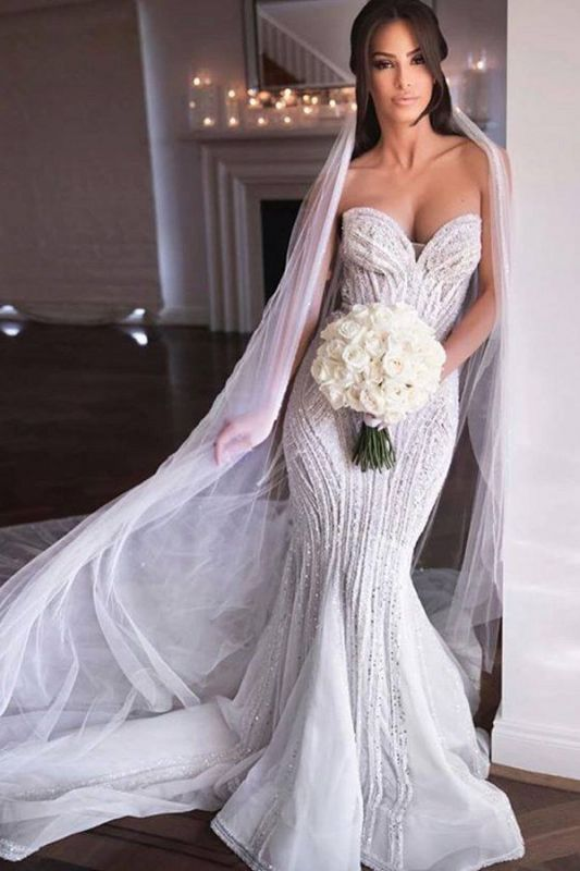 Sweetheart Sleeveless Sequin Crystal Floor Length Fit And Flare Mermaid Wedding Dresses