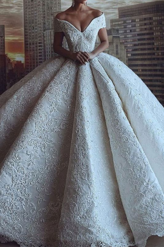 Luxury Off The Shoulder Sweetheart Applique Crystal Ball Gown Wedding Dresses | Puffy Wedding Gown