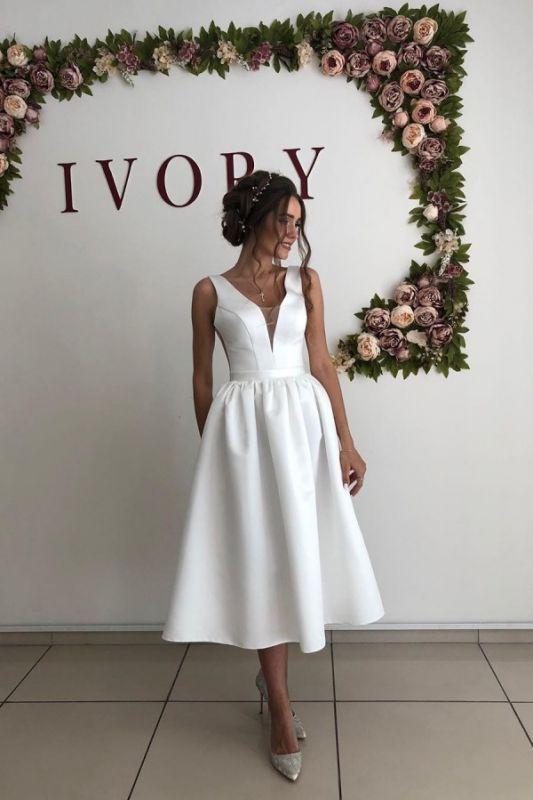 Sexy Straps V Neck A Line Wedding Dresses   Tea Legnth Wedding Gown
