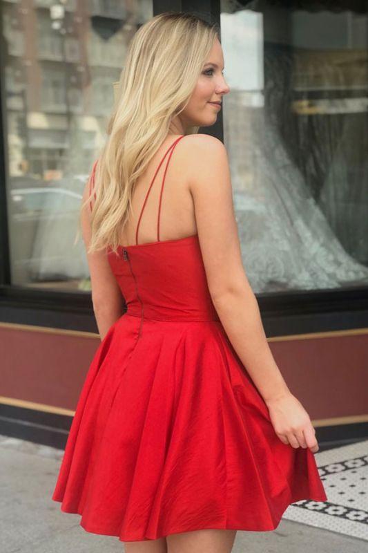 V-neck Spaghetti-Straps Cute A-Line Homecoming Dresses