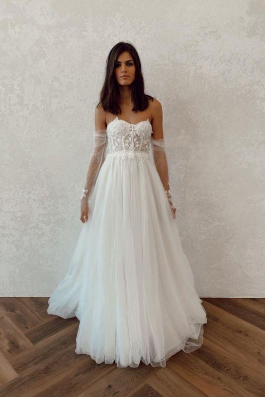 Off The Shoulder Applique A Line Wedding Dresses | Floor Length Summer Beach Wedding Gown