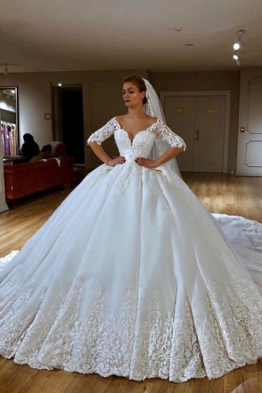 Princess Off The Shoulder Half Sleeve Applique Sequin Ball Gown Wedding Dresses