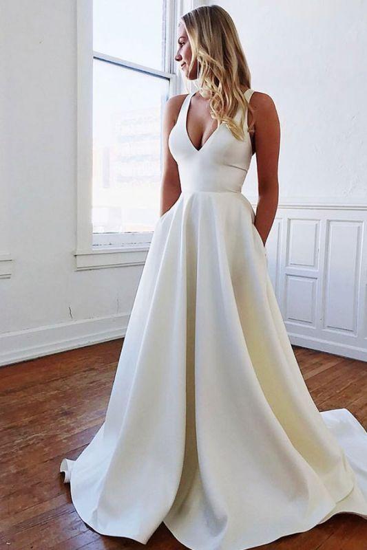 Bowknot V-neck A-line Charming Wedding Dresses