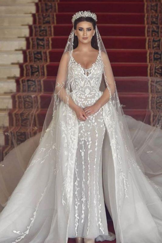 Sexy Straps V Neck Floral Sheath Wedding Dresses | Backless Detachable Train Bridal Gown