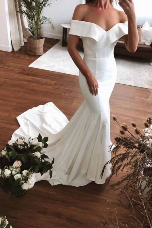 Unqiue Off The Shoulder Sweetheart Fit And Falre Mermaid Wedding Dresses