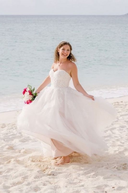 Sexy Sweetheart Applique A Line Wedding Dresses |Floor Length Beach Wedding Dress