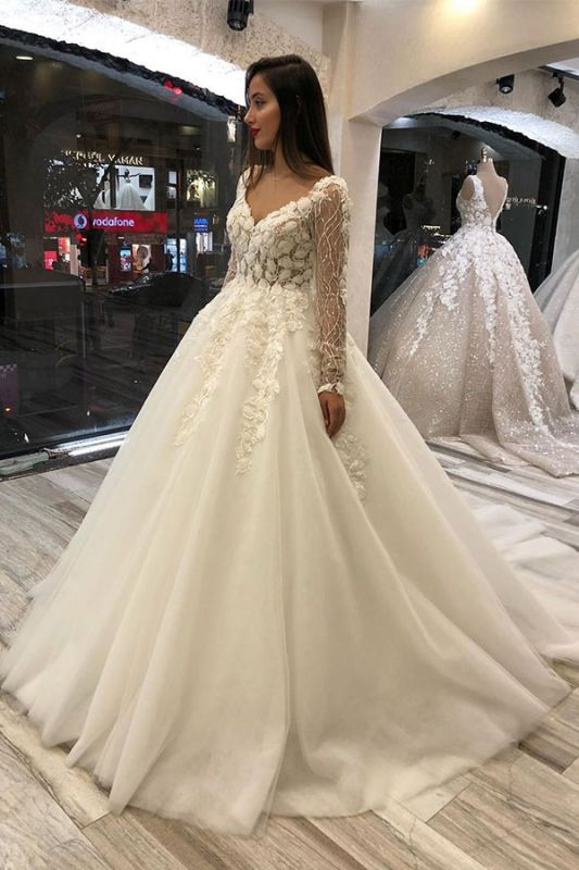 Gorgeous Sweetheart V Back Long Sleeve Applique Floral Ball Gown Wedding Dresses