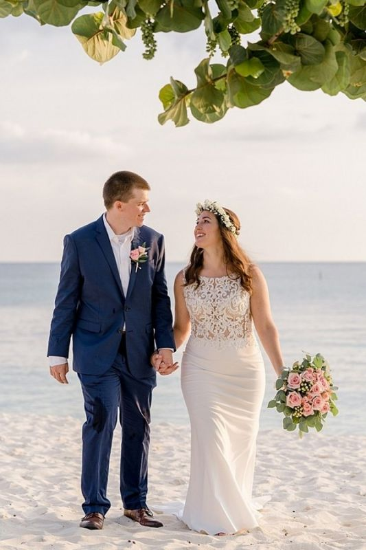 Jewel Applique Sheath Wedding Dresses | Sheath Beach Wedding Gown