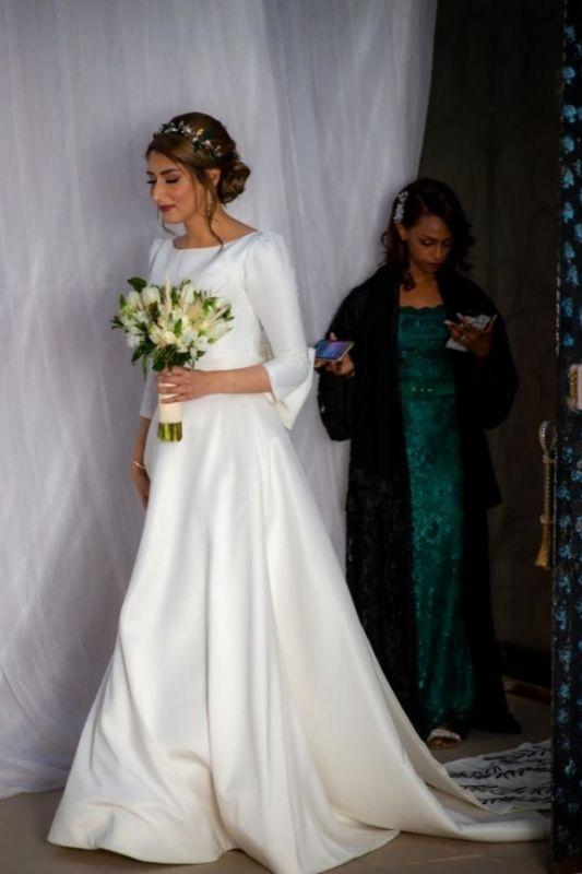 Royal Jewel Long Sleeve A Line Wedding Dresses | Sash Bow Wedding Gown