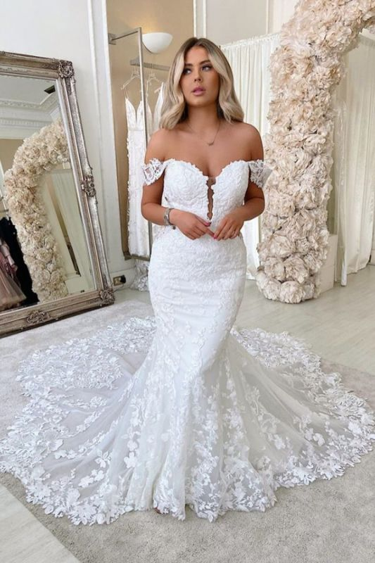 Alluring Off The Shoulder Sweetheart Lace Fit And Flare Mermaid  Wedding Dresses