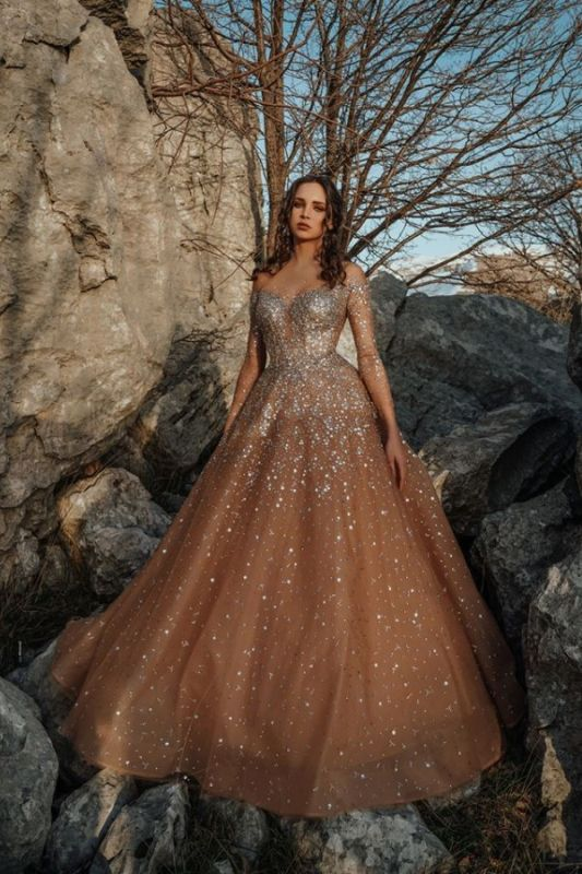 Champagne Jewel Long Sleeve Sequin Crystal Ball Gown Prom Dresses