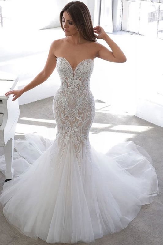 Sexy Sweetheart V Neck Backless Applique Lace Fitted Mermaid Wedding Dresses