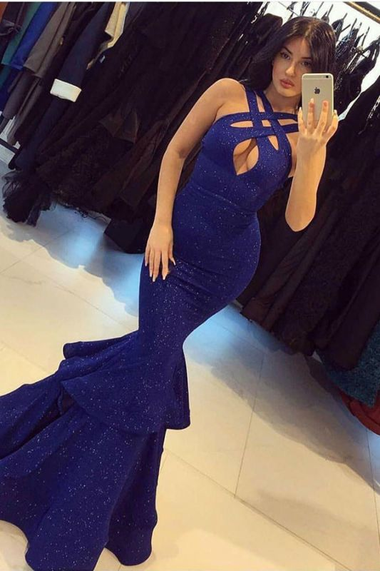 Halter Ruffles Royal Blue Mermaid Sequin Shiny Prom Dress