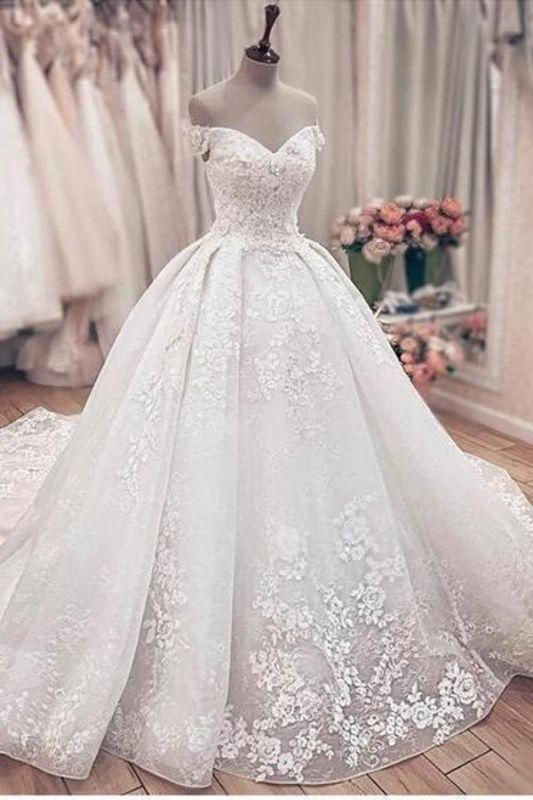 Off The Sholder  Sweetheart Applique Beaded Ball Gown Wedding Dresses