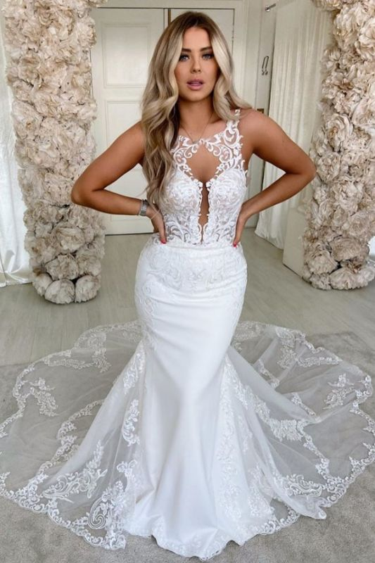 Straps Jewel Backless Applique Fitted  Mermaid Wedding Dresses