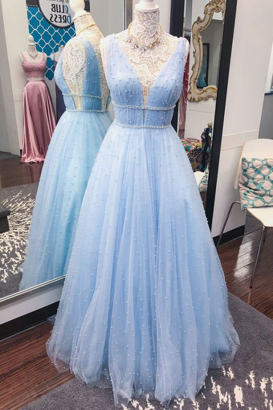 A-Line Strap V-Neck Elegant Beaded Prom Dresses