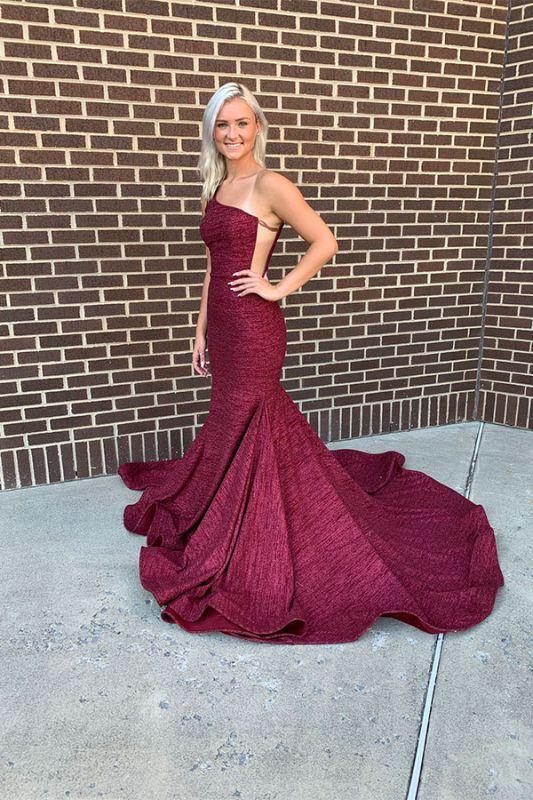 Mermaid Alluring One-shoulder Long Prom Dresses