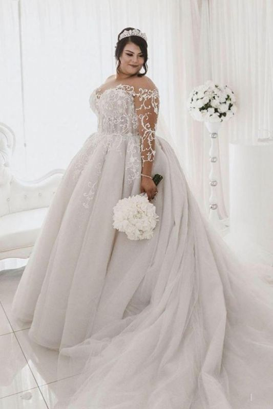 Plus Size Long Sleeve Applique Ball Gown Wedding Dresses | Pearls Puffy Wedding Gown