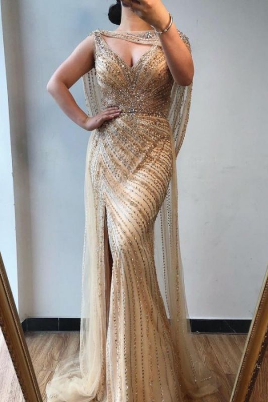 Unique Straps Sweetheart Sequin Side Slit Floor Length Sheath Prom Dresses | Backless Party Dress
