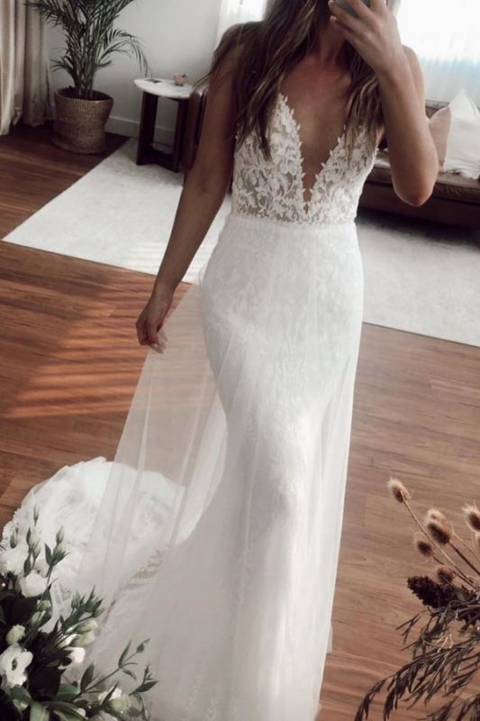 Straps Sweetheart Applique  Fitted Tulle Detachable Skirt Mermaid Wedding Dresses