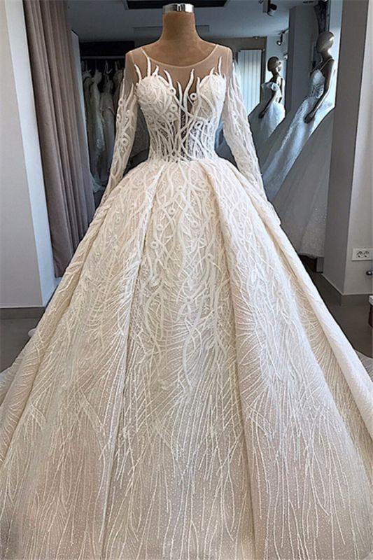 Ball-Gown Scoop Elegant Long-Sleeves Wedding Dresses
