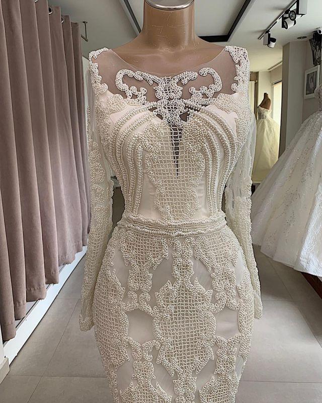 Mermaid Jewel Appliques Attractive Long-Sleeves Wedding Dresses