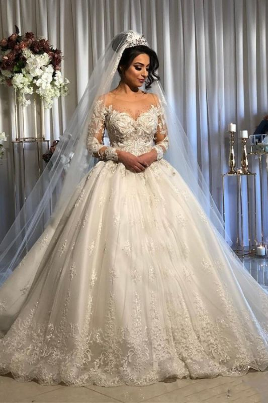 Jewel Lace Ball Gown Wedding Dresses with Sleeves | Timeless Puffy Bridal Gown