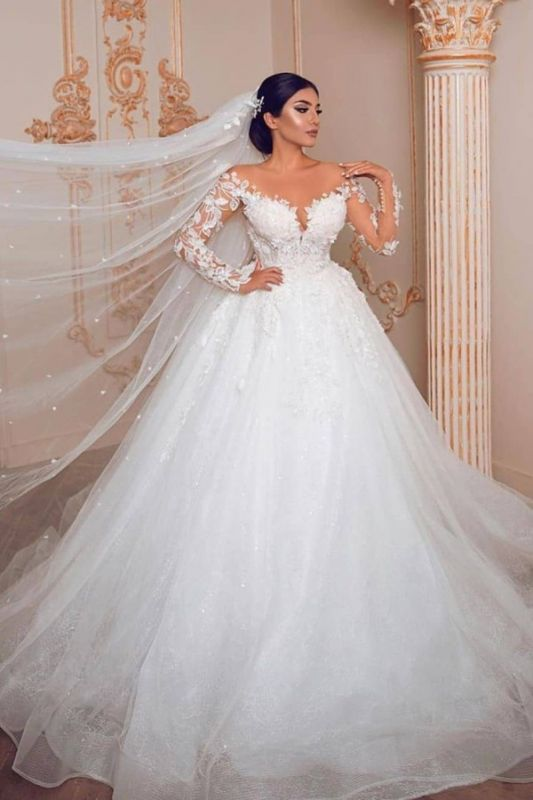 Royal Jewel Long Sleeve Floral Ball Gown Wedding Dresses | Sequin Puffy Bridal Gown