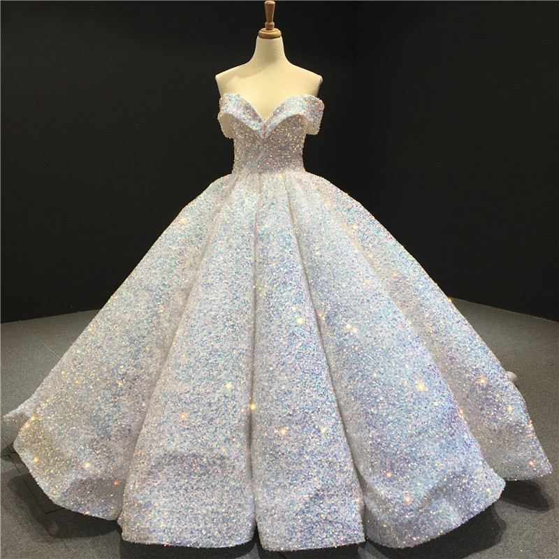 Sparkly Sweetheart Off The Shoulder Ball Gown Wedding Dresses | Sequin Puffy Bridal Gown