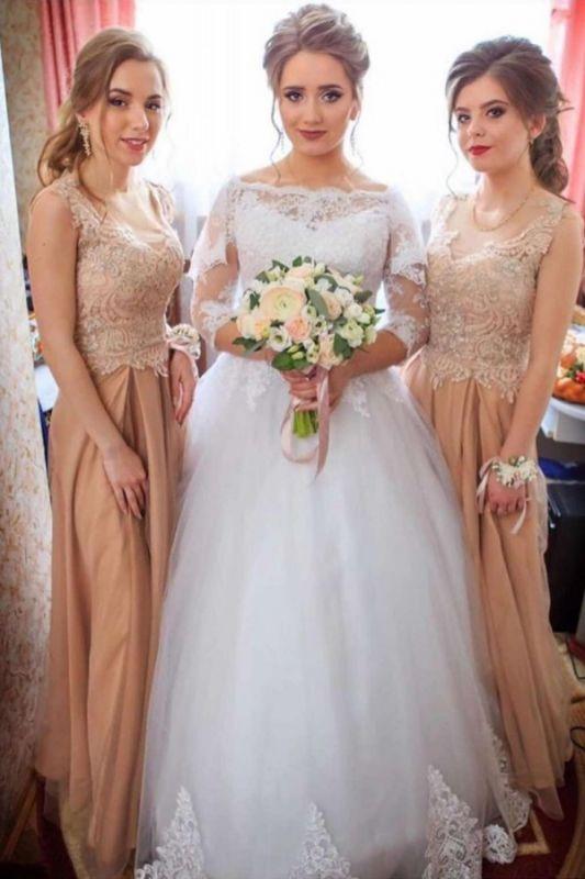 Bateau Long Sleeve Applique Sequin Puffy Ball Gown Wedding Dresses