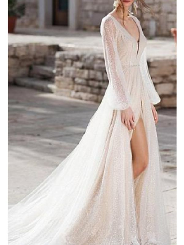 Sexy V Neck Long Sleeve High Low Wedding Dresses | Sequin Bridal Gowns