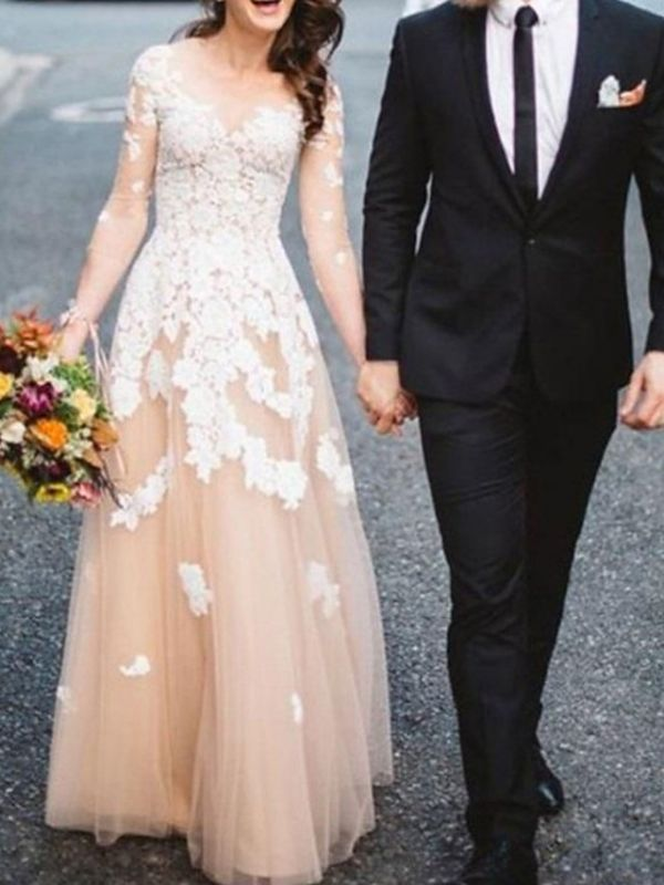 Champagne Long Sleeve Ivory Applique A Line Wedding Dresses