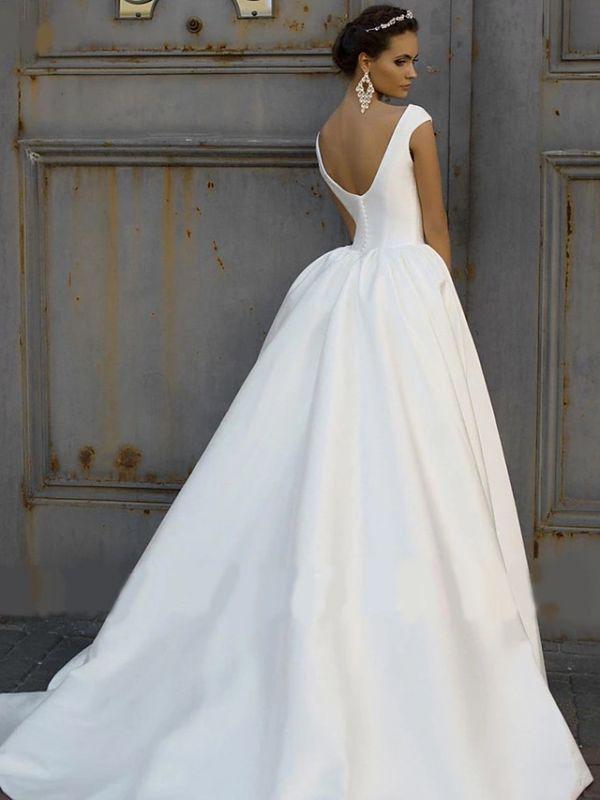 Elegant Jewel Cap Sleeve Satin A Line Wedding Dresses