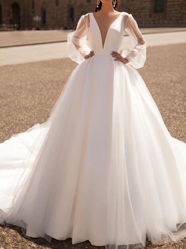 Chic V Neck Long Sleeve A Line Wedding Dresses | Backless Wedding Gown