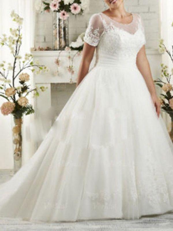 Plus Size Jewel Applique A Line Wedding Dresses | Short Sleeve Bridal Gown