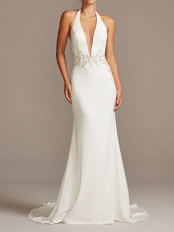 Halter V Neck Beading Fitted Sheath Wedding Dresses | Backless Bridal Gown