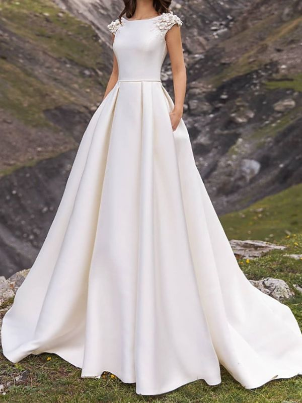 Jewel Cap Sleeve Satin A Line Wedding Dresses