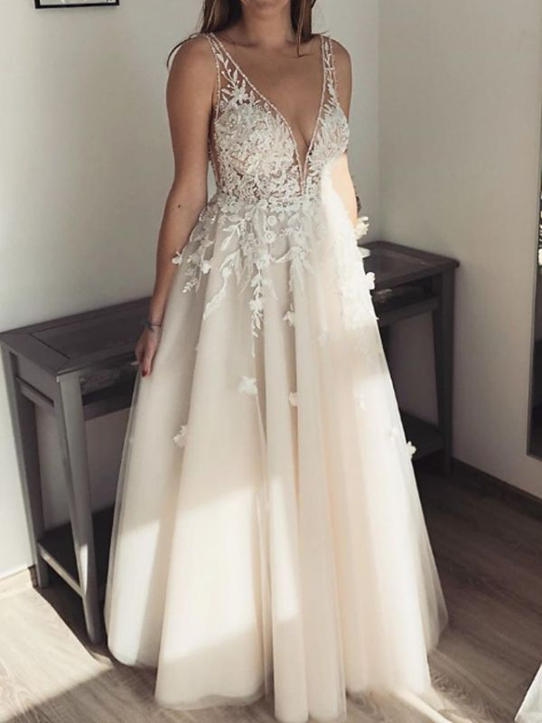 Pearls Applique Straps A Line Wedding Dresses | V Neck Tulle Floor Length Bridal Gown