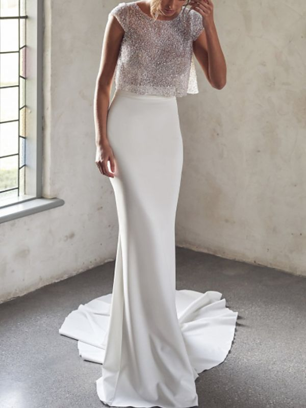 Two Pieces Sparkly Sequin Fitted Sheath Wedding Dresses
