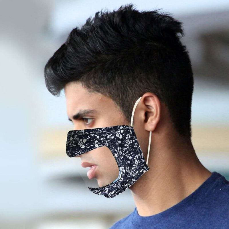 50 PCS Cotton Printed Unisex Adult Mouth Face Mask With Clear Window Visible