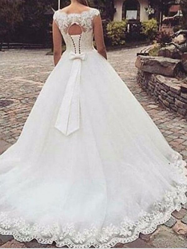Classic Bateau Applique Bowknot A Line Wedding Dresses