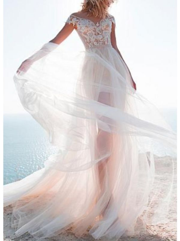 Off The Shoulder Applique Sheath Wedding Dresses With Detachable Skirt