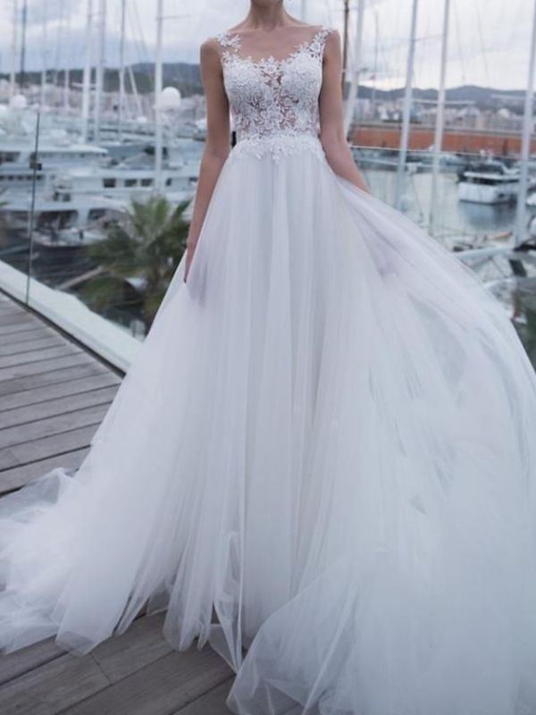 Sheer Back Straps Applique Pleats Tulle A Line Wedding Dresses