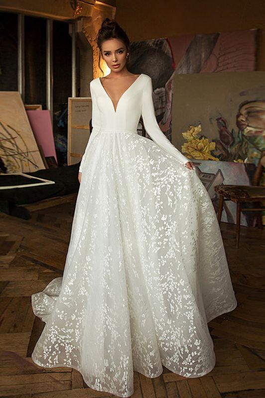 Elegant Long Seleeve Backless Floral A Line Cheap Wedding Dresses | V Neck Bridal Gown