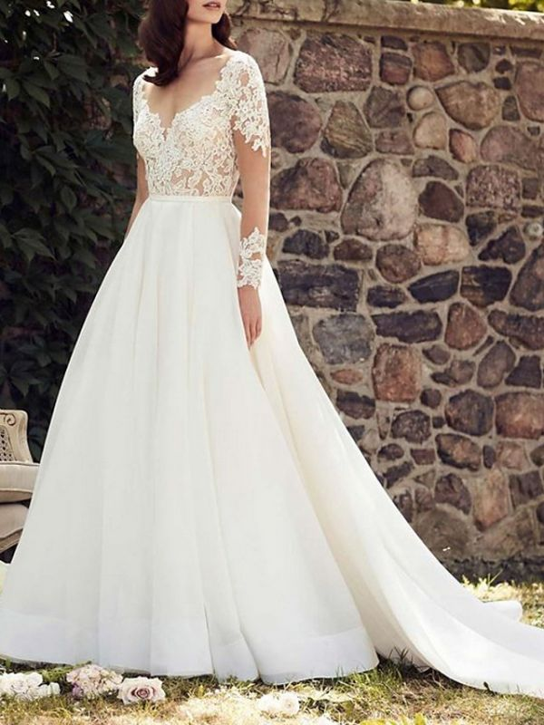 Long Sleeve Lace A Line Wedding Dresses | V Neck Bridal Gown